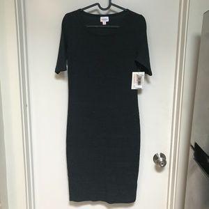 NWT LuLaRoe Dress Grey Half Sleeve Midi